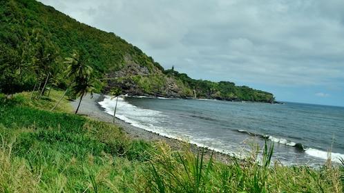 Lush green coastline of Hana in Maui