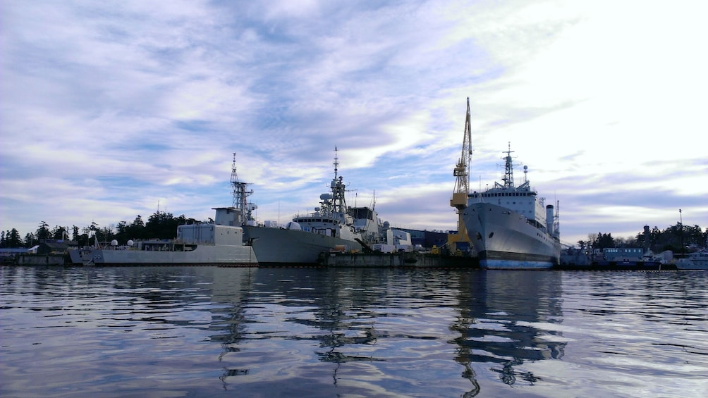 Show item 1 of 5. Ships at the naval base on Vancouver Island