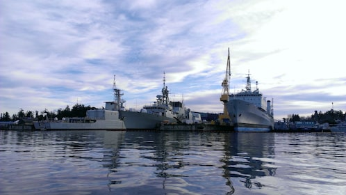 Ships at the naval base on Vancouver Island