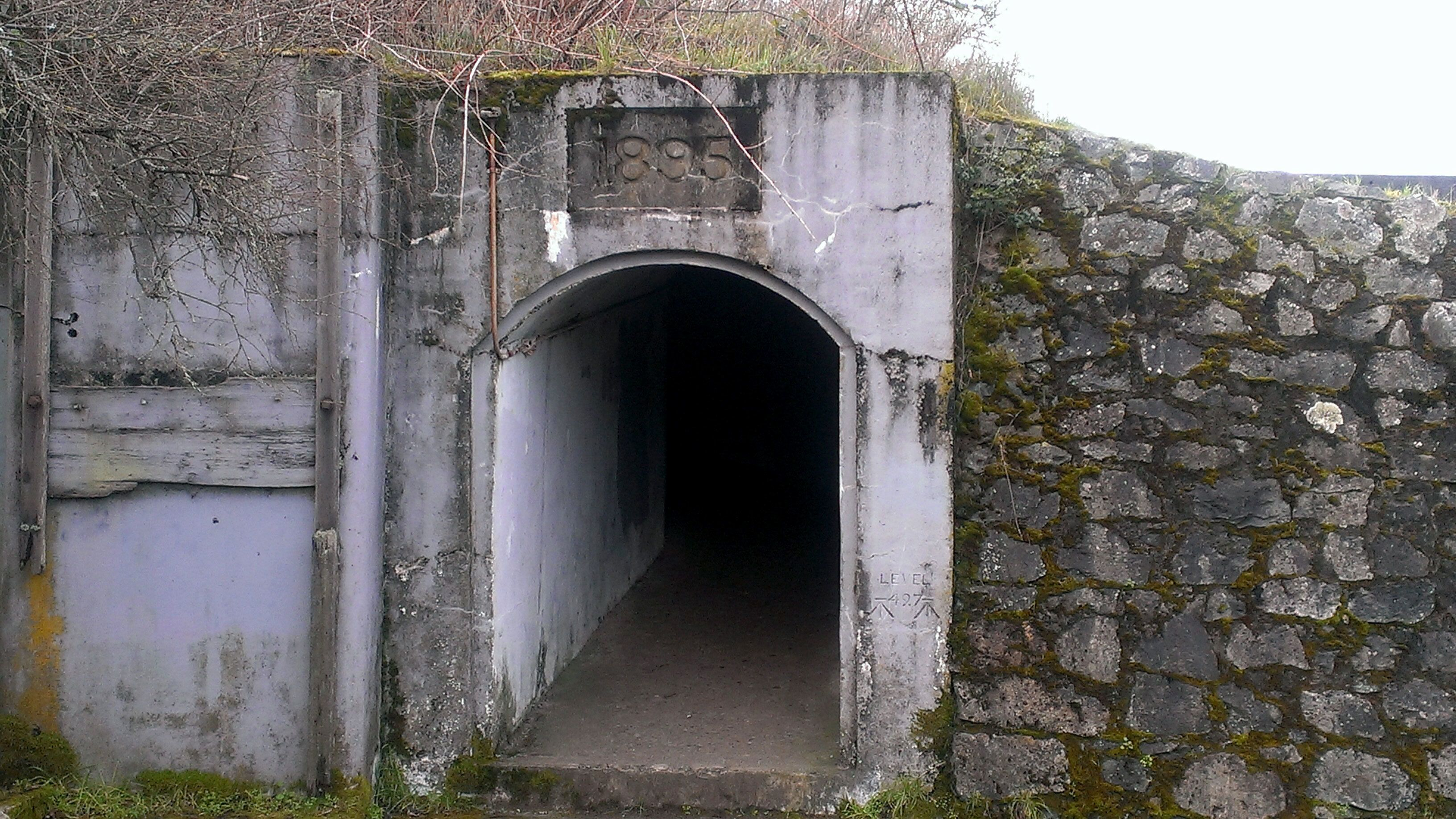 Entrance to a tunnel at Macaulay Point Park on Vancouver Island