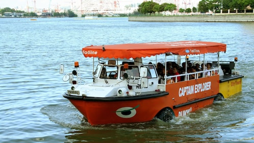 Amphibious bus on the water in Singapore