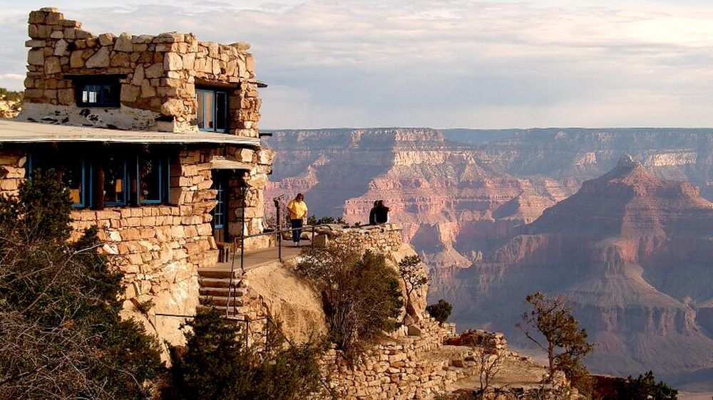 Stone observatory overlooking the Grand Canyon