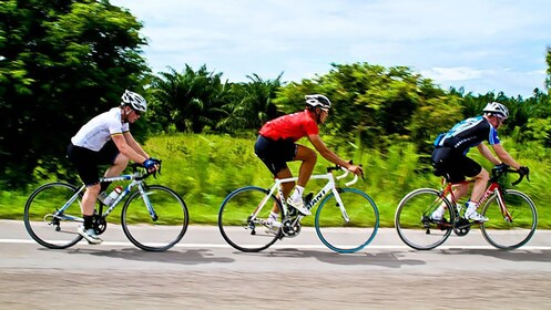 biking on the road in Bangkok
