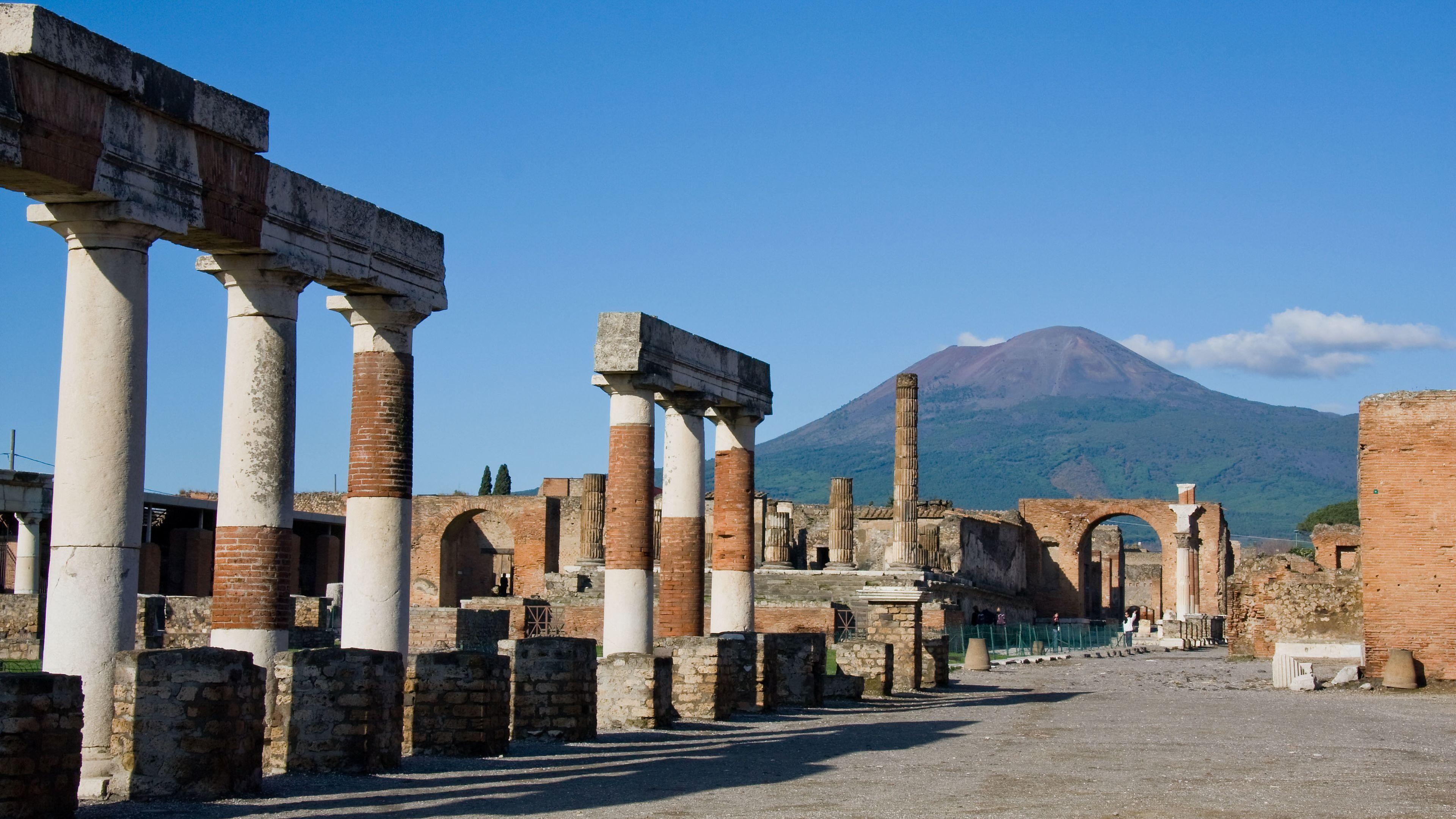 View of Mt Vesuvius from Pompeii ruins.