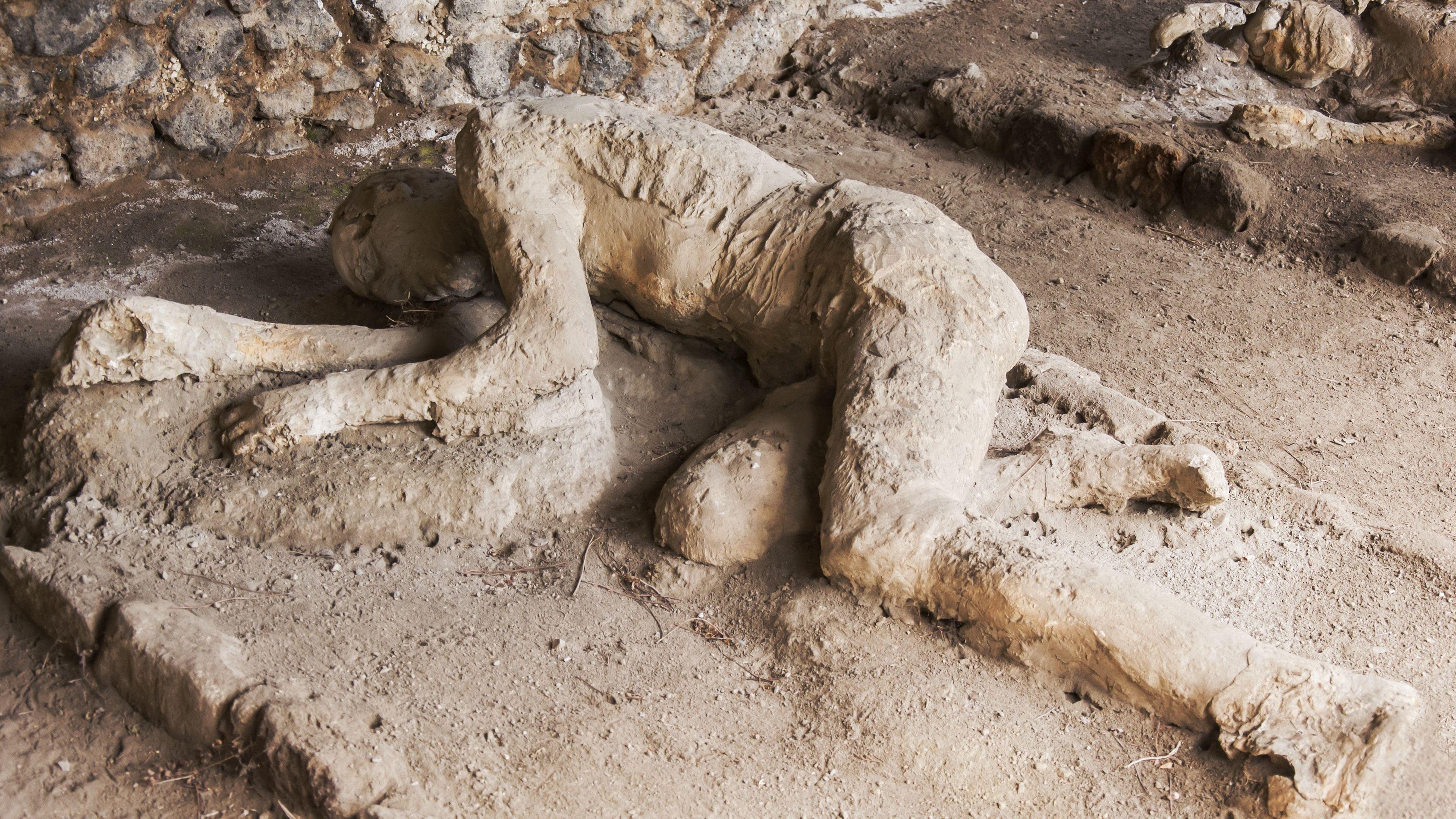 Close up of plaster of Pompeii victim.