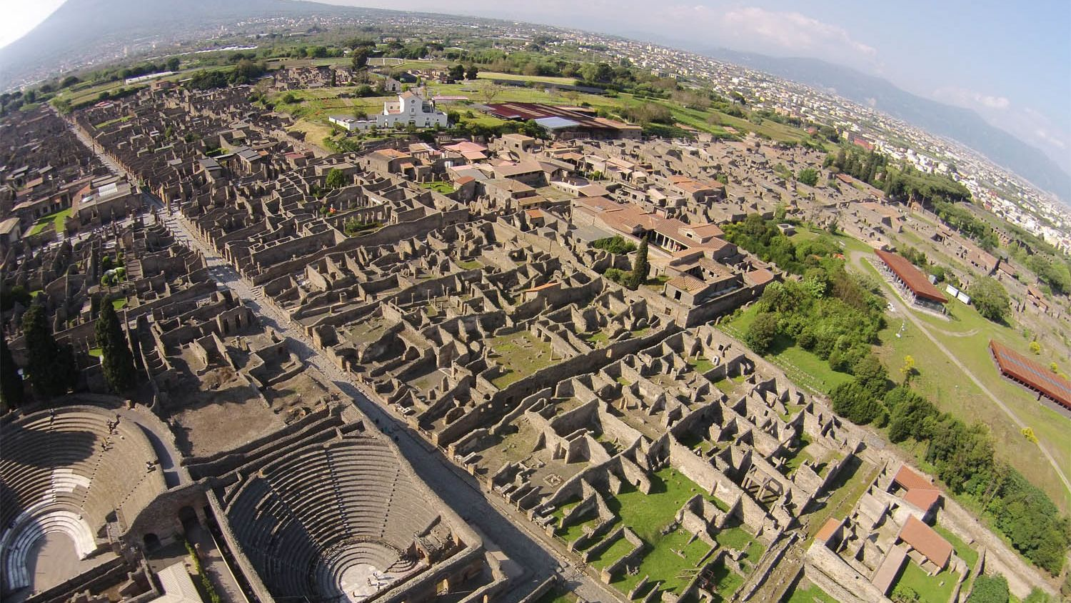 Aerial view of Pompeii ruins in Italy