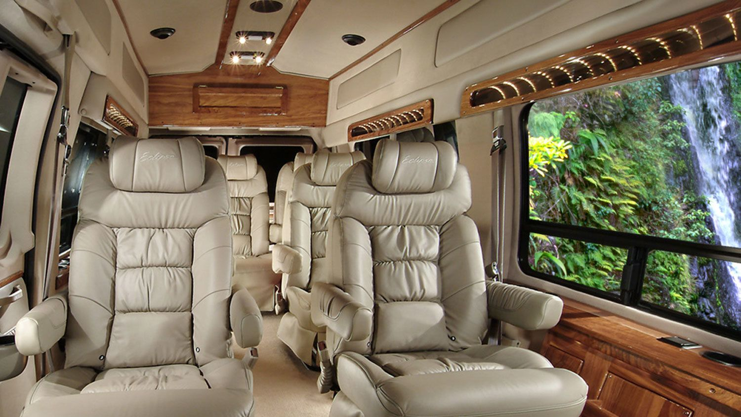 Interior of limo for Hana tour in Maui