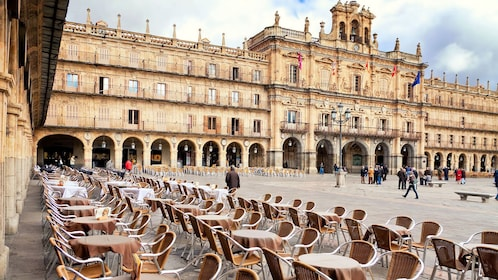 seating and tables outside the city hall in Spain