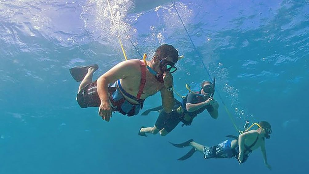 Show item 1 of 10. Three tethered snorkelers diving in the ocean in Maui