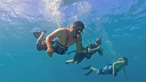 Three tethered snorkelers diving in the ocean in Maui