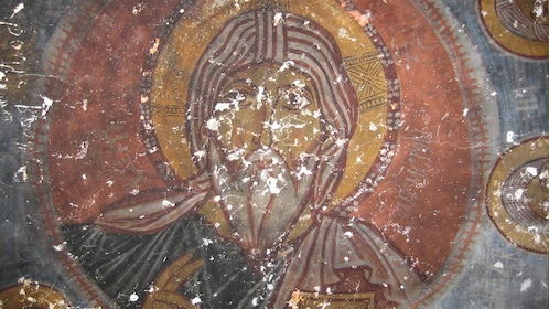 Remnants of a religious painting in Cappadocia