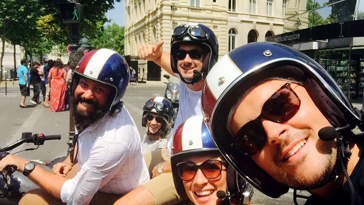Motorcycling group takes a selfie in Paris