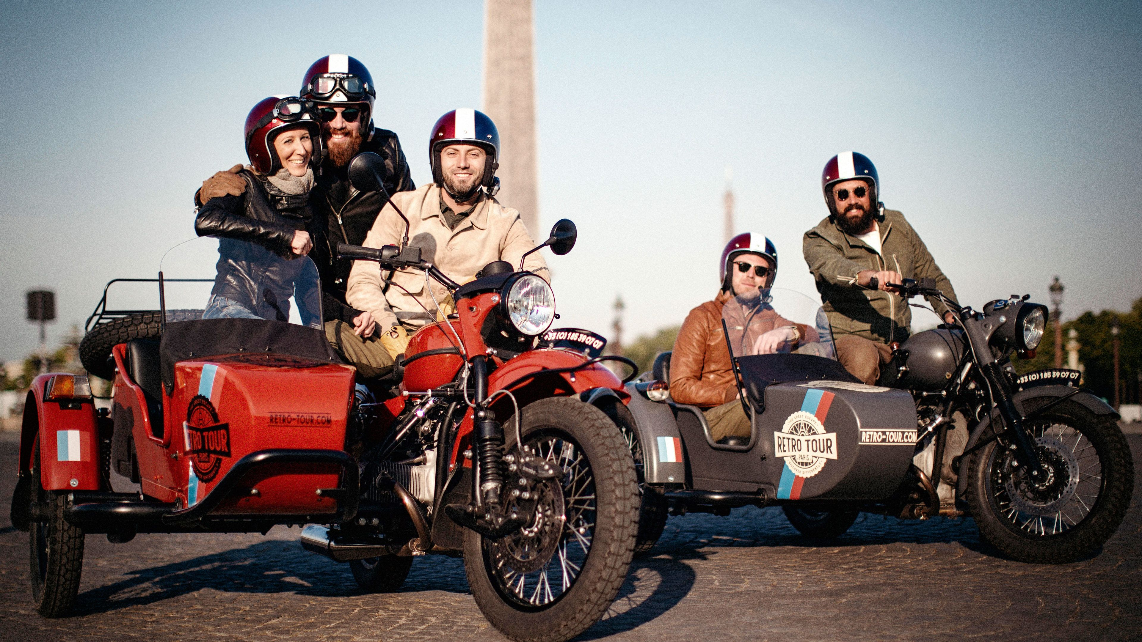 Tour group on motorcycles with sidecars in Paris