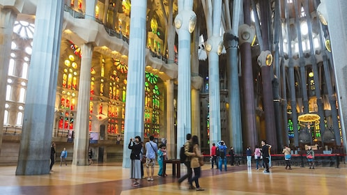 Interior view of Sagrada Família church.