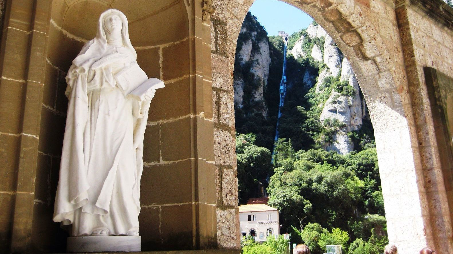 Sculpture and archway at Montserrat