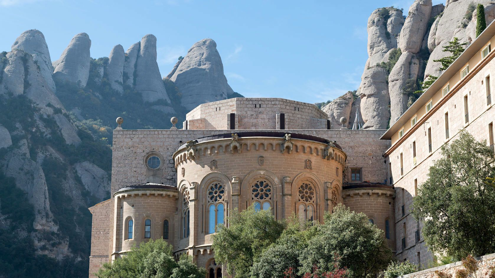 Monastery at Montserrat with mountains in the background
