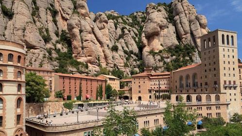 Monastery nestled in the mountains of Montserrat near Barcelona