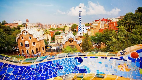 Colorful mosaic architecture in Park Guell in Barcelona