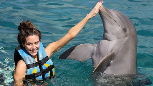 Girl having fun on the Dolphin Encounter in Anguilla