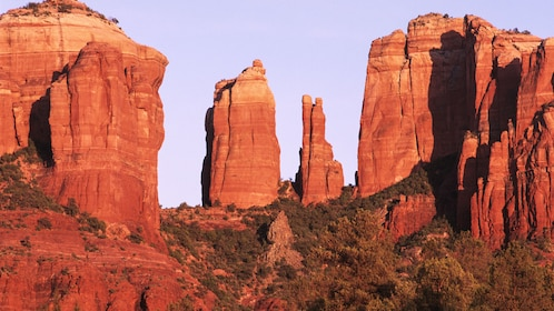 View of canyons in Sedona at sunset.