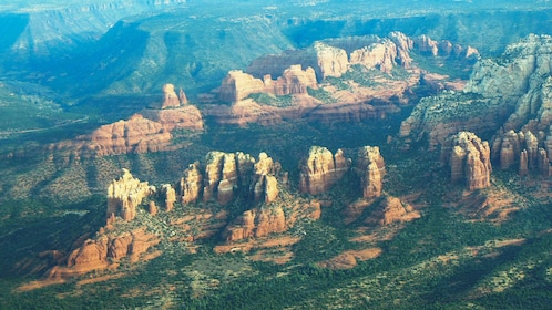 Beautiful aerial view of Sedona canyons during the day.