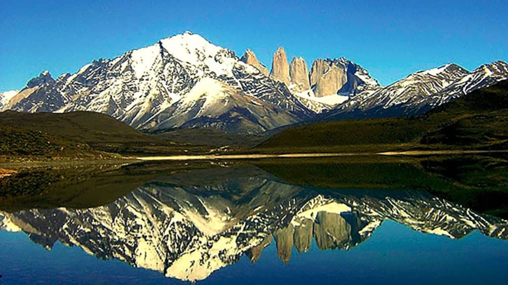 Patagonia mountain reflected on to a lake in Argentina