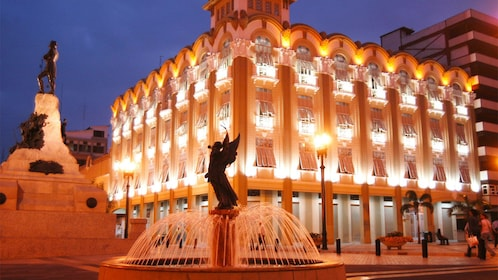 Beautiful fountain at night seen on the Guayaquil City Tour