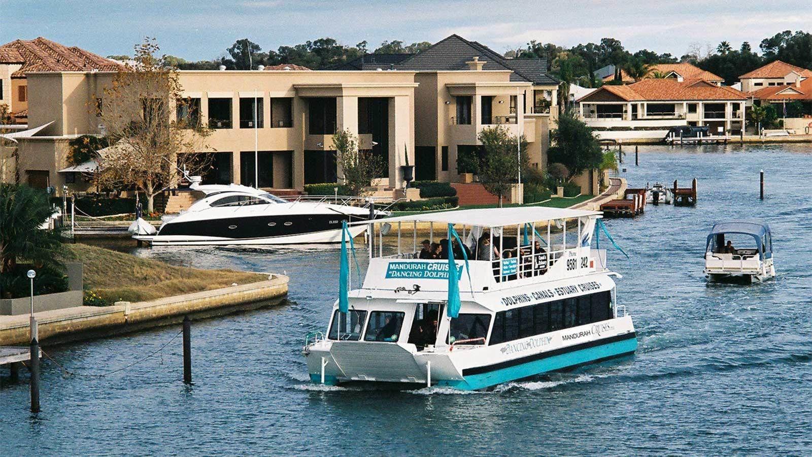 Serene view of a cruise boat in Perth, Australia
