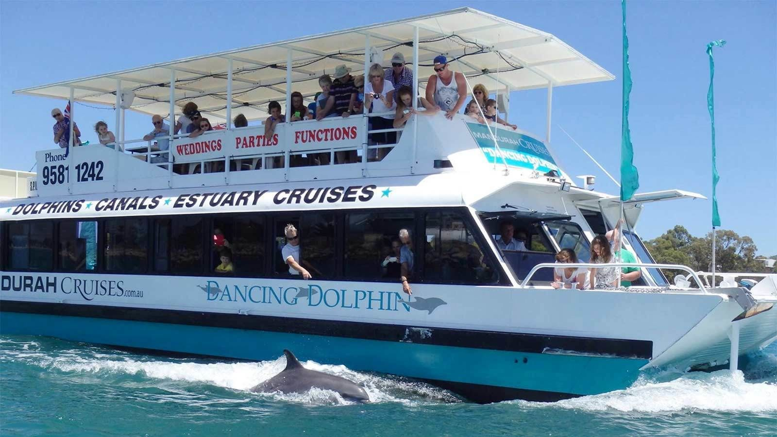 Side view of the Dancing Dolphin cruise boat in Perth, Australia