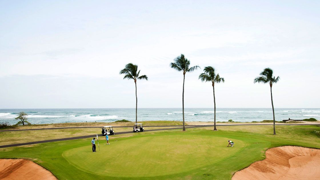 The golf course rests alongside Turtle Bay and offers fantastic views of the coastline