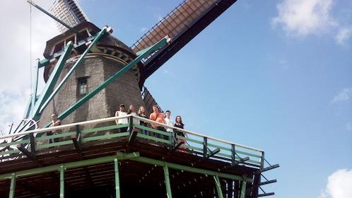 Tour group standing on a windmill in Zaanse Schans