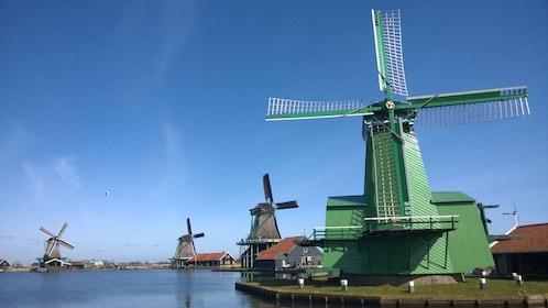 Windmills along the water in Zaanse Schans