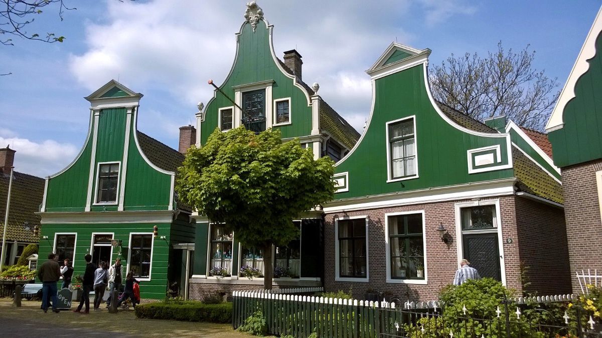 visiting small homes near the windmills in Amsterdam
