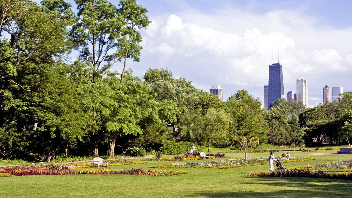 leisurely strolling through the park in Chicago