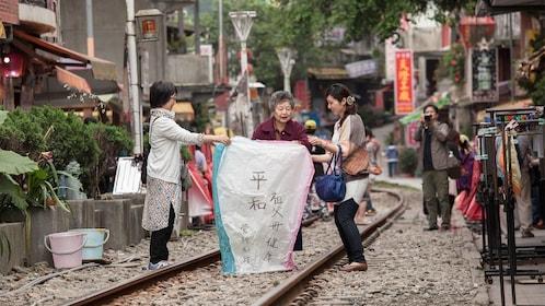 Group on the Pingxi Sky Lantern tour in Taipei
