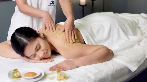 Woman getting a massage at the Let's Relax Spa in Samui