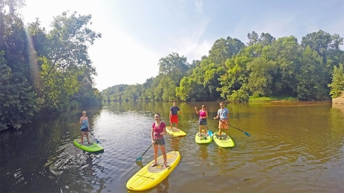 Group enjoying the French Broad River SUP Adventure in North Carolina Central