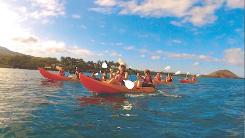 View of several kayakers paddling together in ocean water.