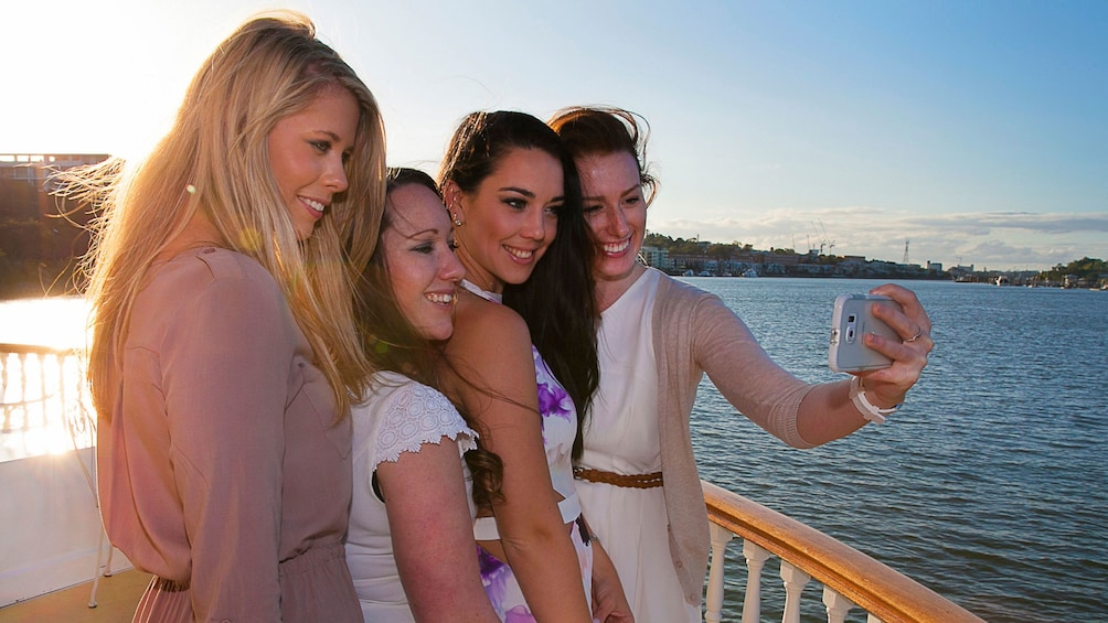 Group of women on river cruise in Brisbane