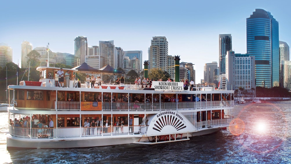 River boat passing by city of Brisbane