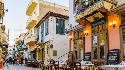 Evening street view of Peloponnese, Greece