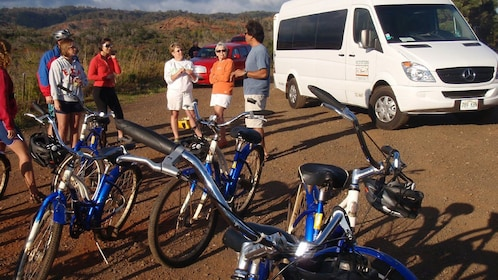 group of people with bicycles in Kauai