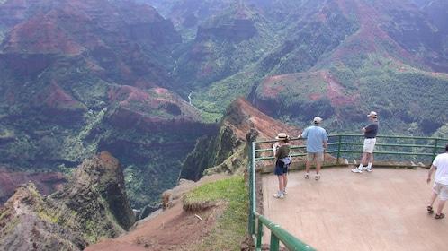 people overlooking mountain hills in Kauai