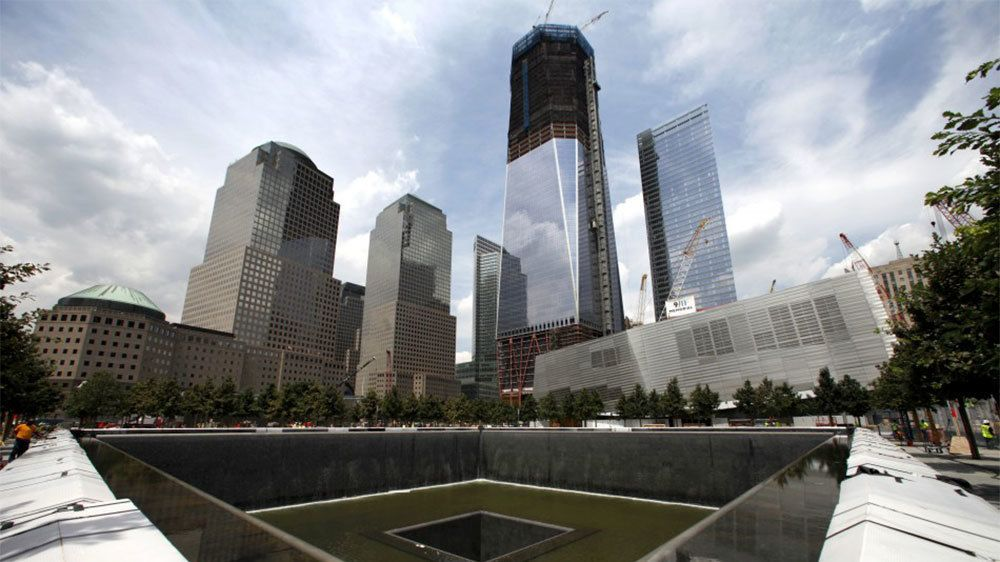 Fountain memorial at One World Trade Center in New York