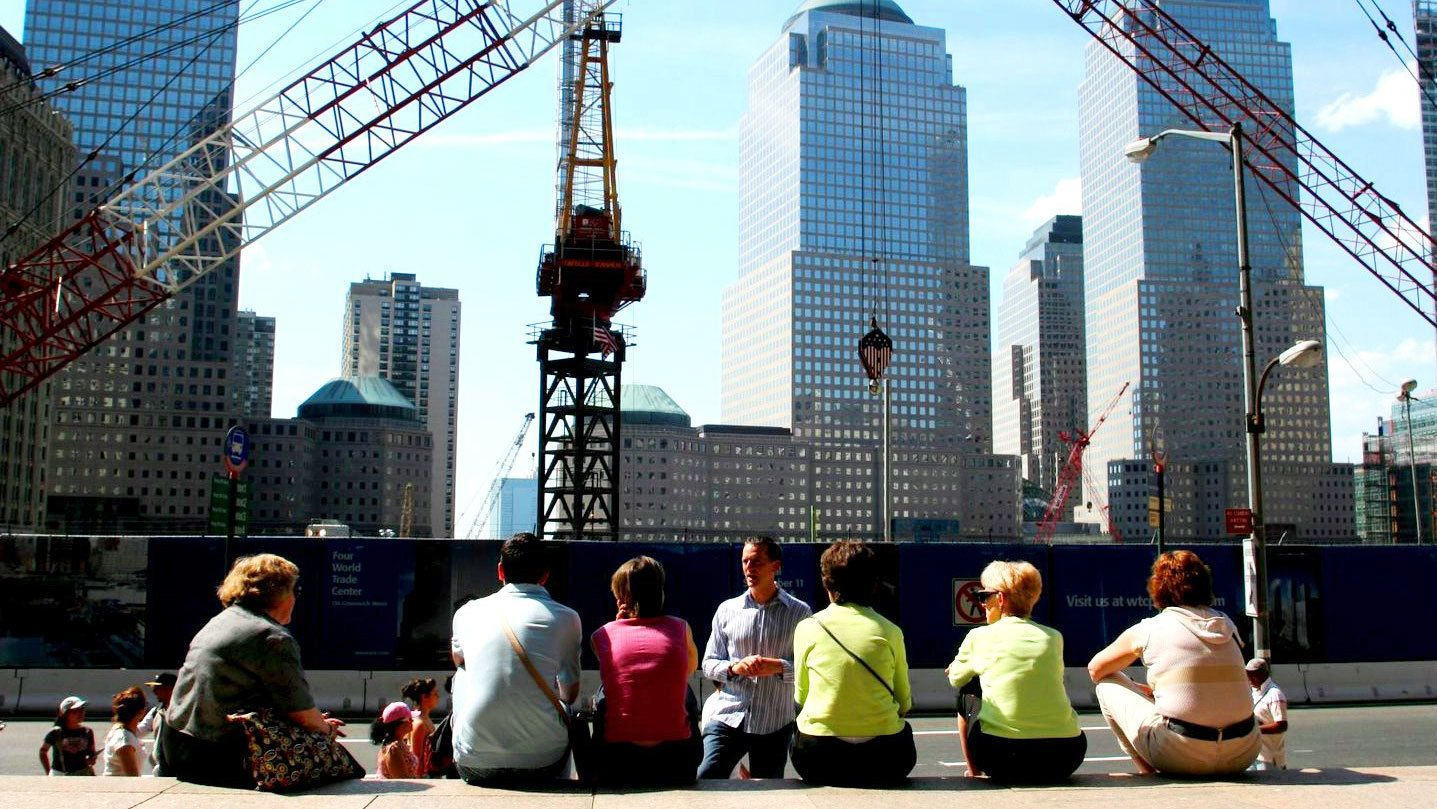 Tour group at ground zero in New York
