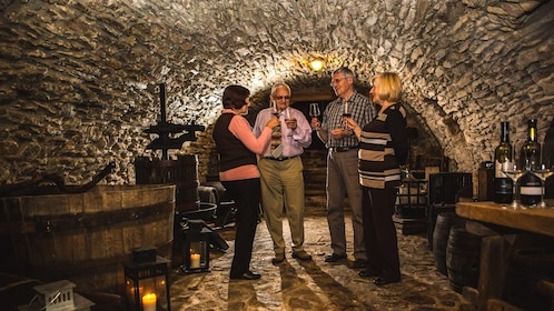 Interior view of wine cellar with group of people enjoying glasses of wine.