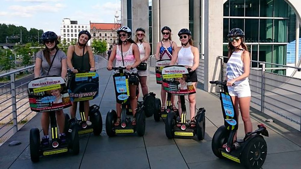 Segway group poses for a picture in Berlin