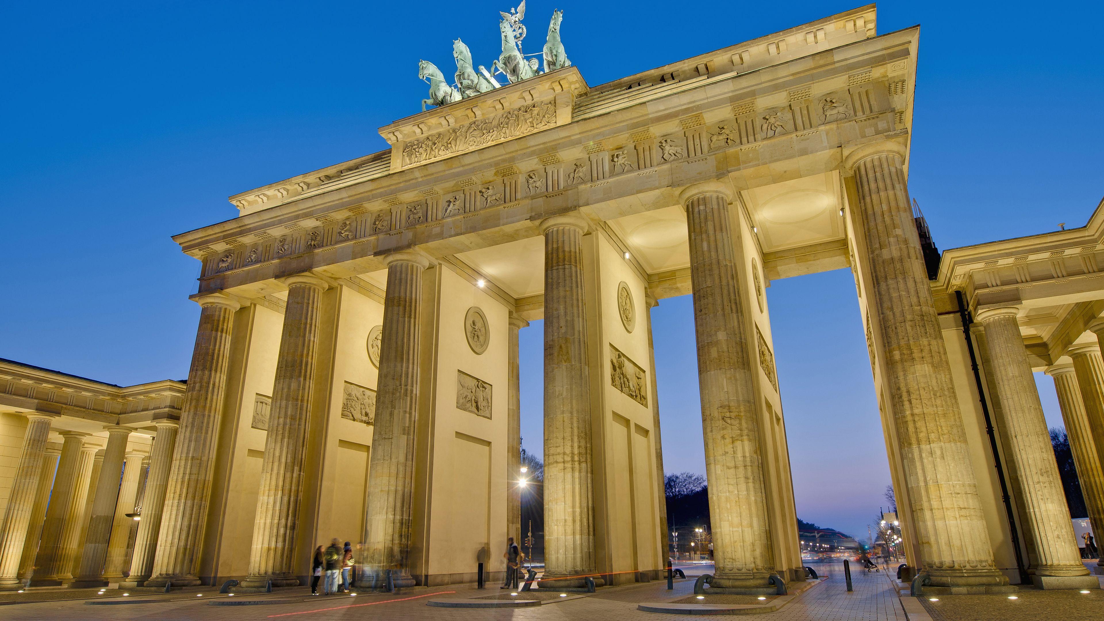 The Brandenburg Gate at dusk
