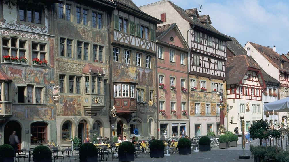 Show item 2 of 9. The buildings and streets of Stein am Rhein