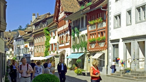 People walk down the streets of Stein am Rhein